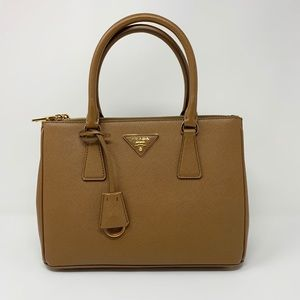 Prada  Saffiano Lux Small Double Zip Tote Bag